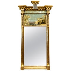 Federal Tabernacle-Form Mirror with Eglomise Panel, circa 1805, New England