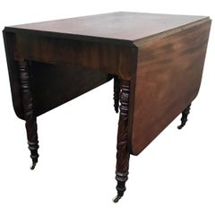 Federal Tobacco Leaf Carved Leg Table