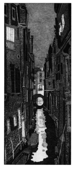 Venice Landscape Black and White Italian print etching by Federica Galli