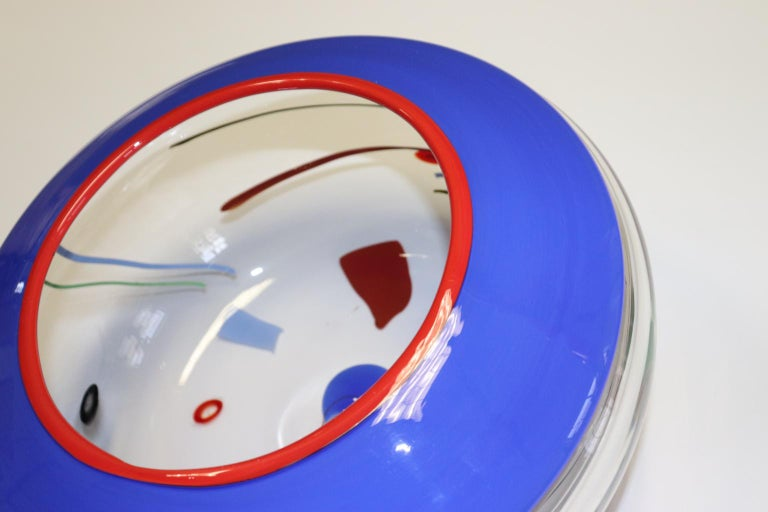 Mid-Century Modern Federica Marangoni Kandinsky Inspired Murano Hand Blown Glass Bowl For Sale