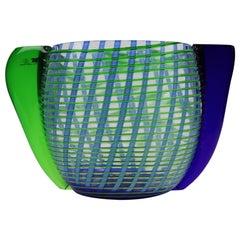 Federica Marangoni Murano Transparent Glass Vase with Green and Blue Filigree