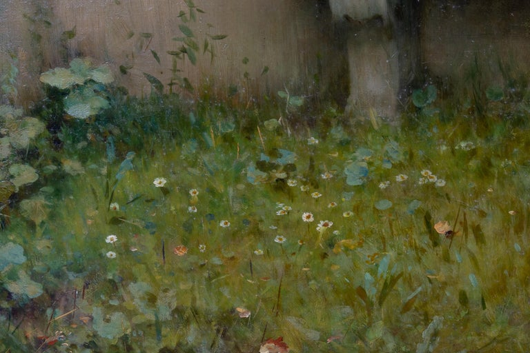 A Tender Moment in a Garden (In Love) Oil on canvas For Sale 10