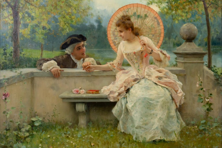 Federico Andreotti Figurative Painting - A Tender Moment in a Garden (In Love) Oil on canvas