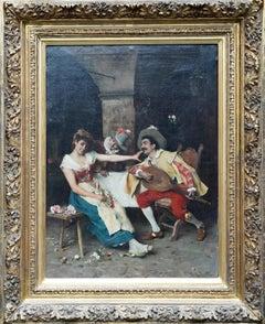 The Serenade - Italian 19th century art figurative oil painting musicians