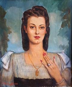 Hispanic woman with jewels Latin female  Art Deco