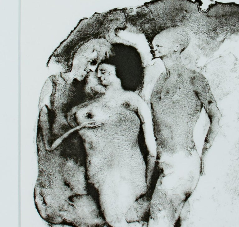 This lithograph was one of sixteen Federico Castellón produced in 1968, published by Aquarius Press, to illustrate Edgar Allan Poe's 1832 story 'The Mask of the Red Death.' The image shows three nude figures fondling one another, as well as two