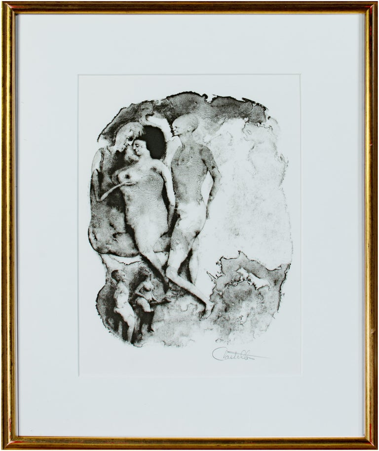 """Federico Castellon Nude Print - """"Erotica IV Marginala,"""" from the Mask of the Red Death series signed Castellon"""