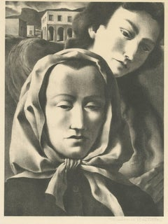 """Two Women,"" Original Lithograph Portrait signed by Federico Castellon"