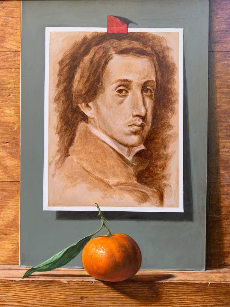 Self Portrait of Degas with Tangerine and Fine Wine - Painting by Federico Castelluccio