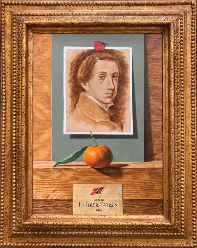 Federico Castelluccio Still-Life Painting - Self Portrait of Degas with Tangerine and Fine Wine