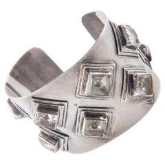 Federico Jimenez Sterling Silver & Quartz Cuff Bracelet
