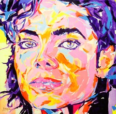 """Michael Jackson"" by Federico Lopez 39"" x 39"" Acrylic on Canvas"
