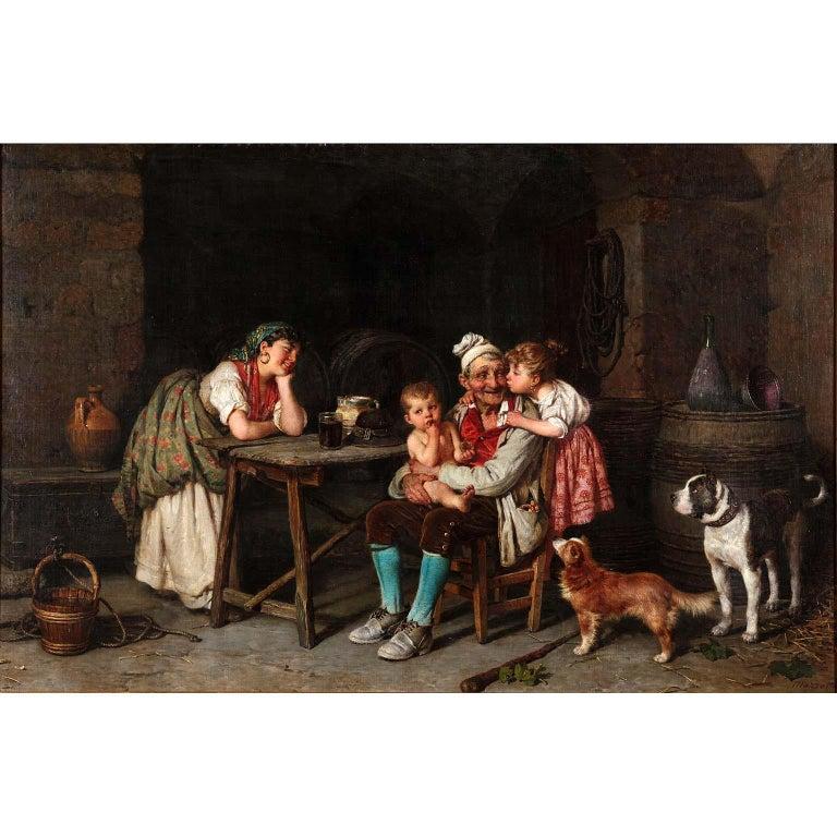 Federico Mazzotta (Italian, 1839-1897) A Very Fine Italian 19th Century Oil on Canvas