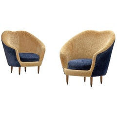 Federico Munari Armchairs in Beige and Blue Teddy
