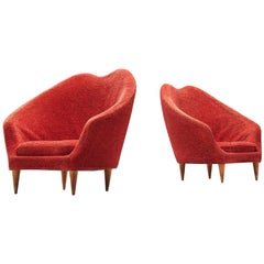 Federico Munari Armchairs in Red Teddy