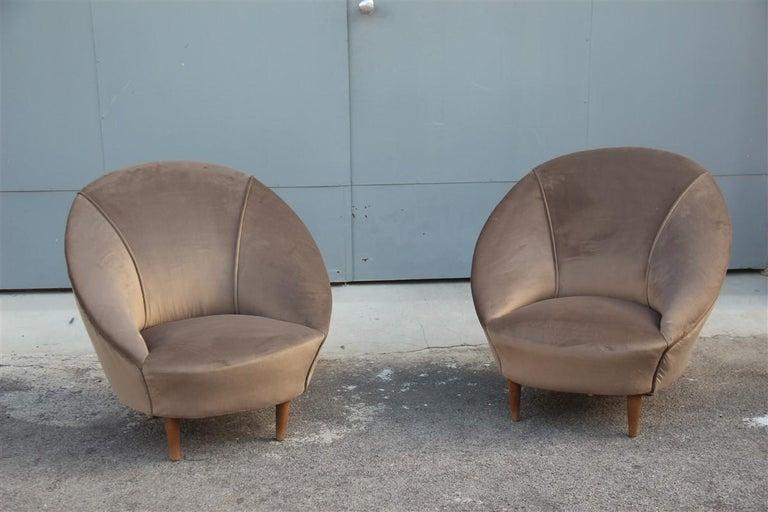 Federico Munari midcentury armchairs bronze velvet curved wooden feet, 1950s.