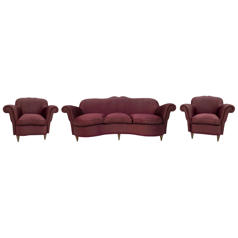 Federico Munari Mid-Century Italian Curved Sofa and Two Armchairs, 1950s, Rares