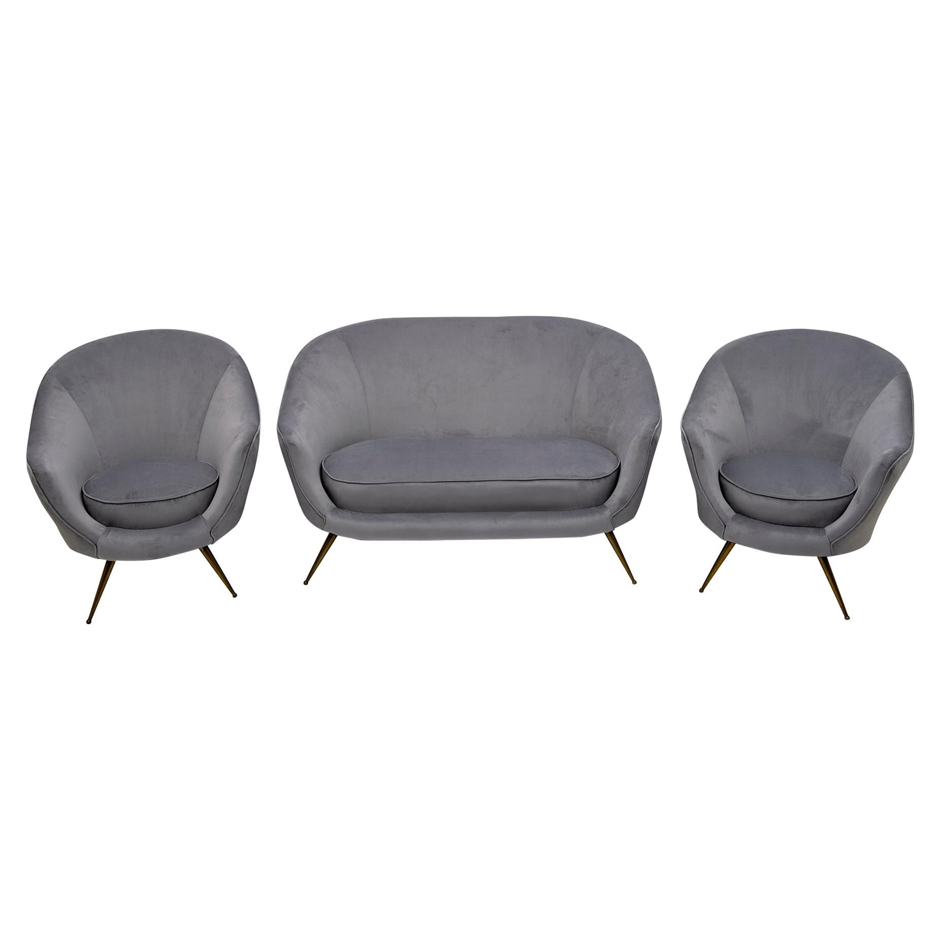 Federico Munari Mid-Century Modern Italian Curved Sofa and Two Armchairs, 1950s