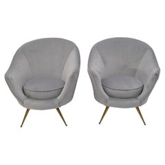 Federico Munari Mid-Century Modern Italian Velvet Two Armchairs, 1950s