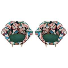 Federico Munari Mid-Century Modern Pair of Green Linen Italian Armchairs