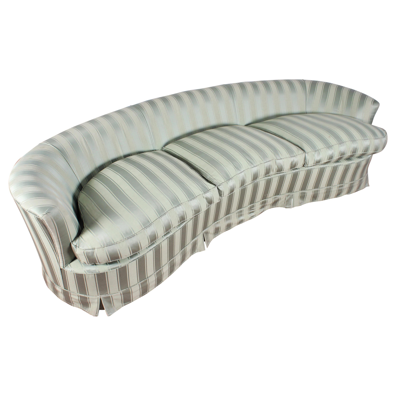 Federico Munari Midcentury Green Fabric and Wood Curved Sofa, Italy, 1950s