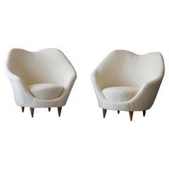 Federico Munari, Organic Lounge Chairs, Wood, White Bouclé Fabric, Italy, 1950s