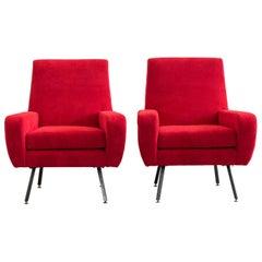 Federico Munari Set of Two Red Armchairs Italian Manufacture 1970