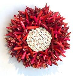 Dark Pink/Red Flower, White Eraser Center