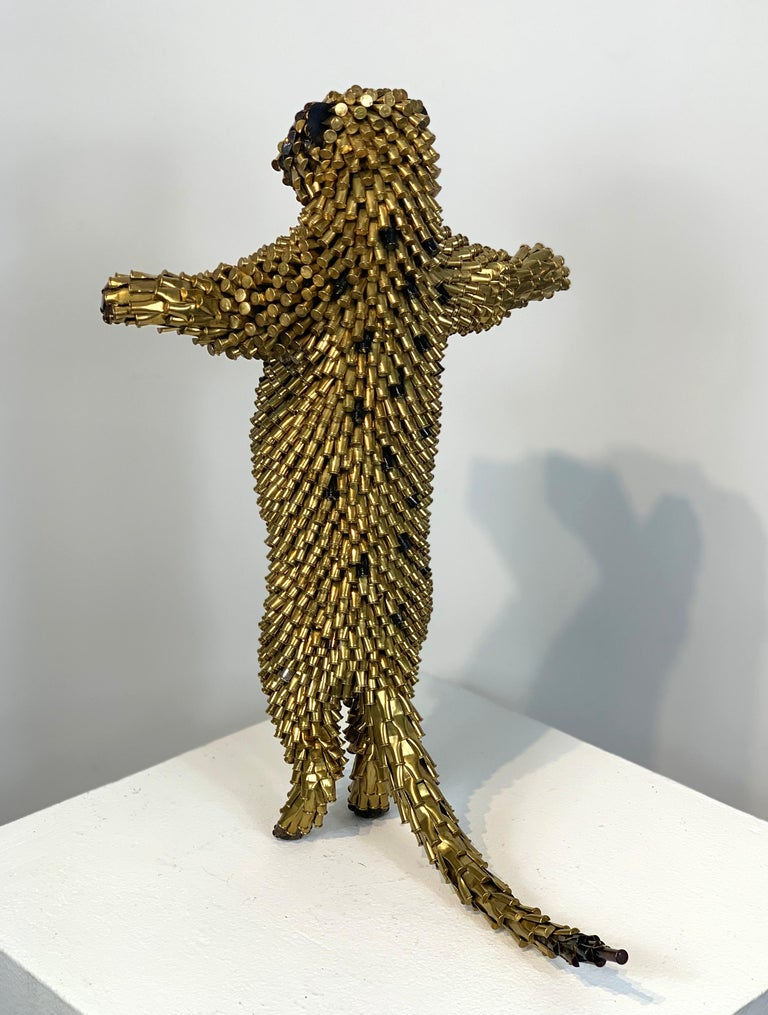 The subject matter and media that Federico Uribe chooses are often deliberately incongruous.  His small animals made out of bullet shells contain a stark juxtaposition between an innocent creature and a violent object.  This contrast calls, first,