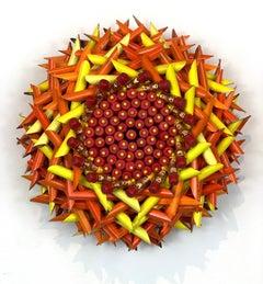 Orange and Yellow Flower, Red Eraser Center