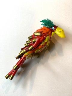 Orange, Red and Yellow Bird, Green Tuft