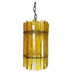 Feders Amber Hand Blown Glass Chandelier