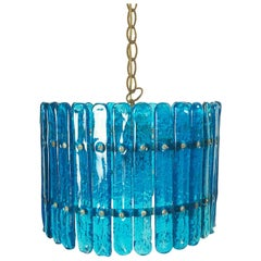 Feders Blue Hand Blown Glass Chandelier