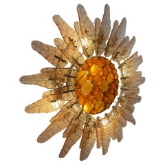 Feders Fabulous Sun Flower Glass Wall Sconce by Felipe Delfinger Mexico, 1970s