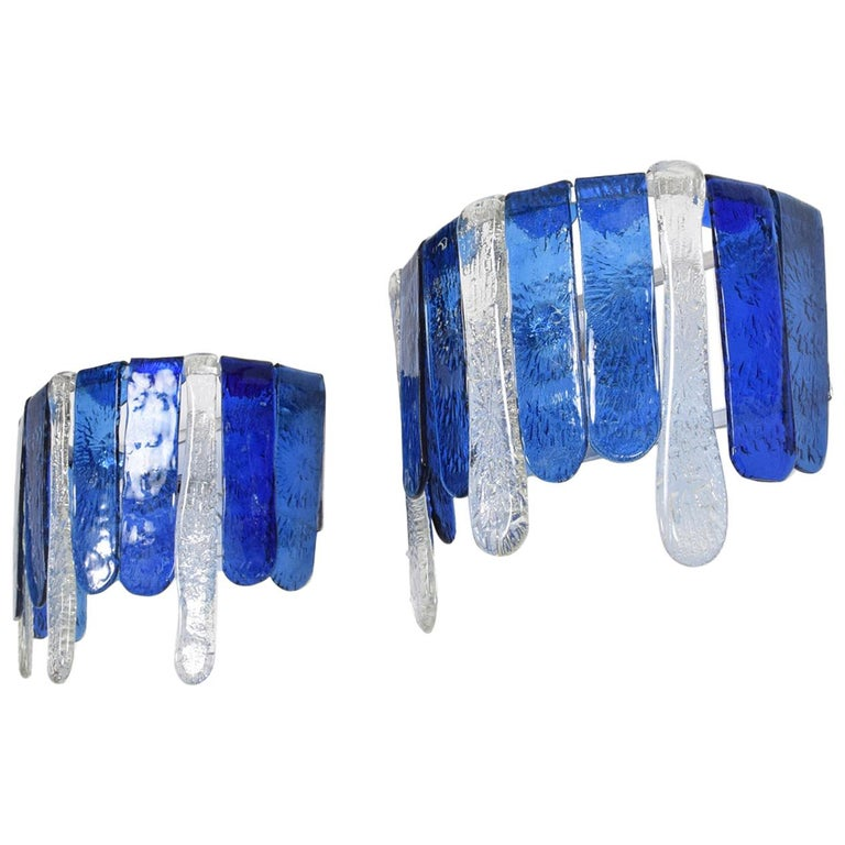 Feders Luscious Blue Hand Blown Glass Wall Sconces, Mexico, 1970s, a Pair For Sale
