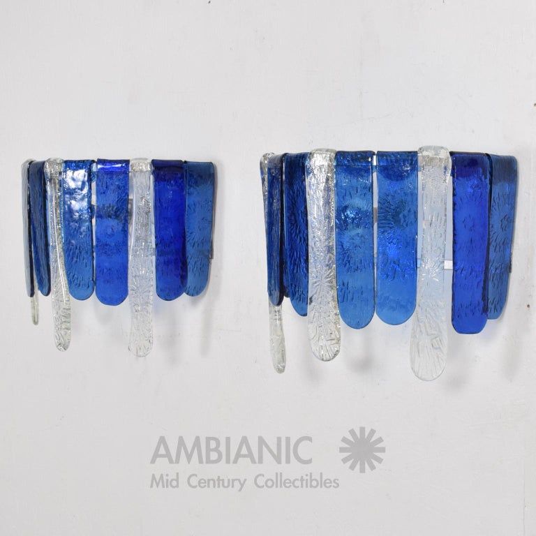 Mid-Century Modern Feders Luscious Blue Hand Blown Glass Wall Sconces, Mexico, 1970s, a Pair For Sale