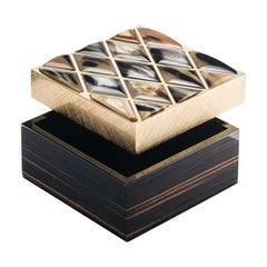 Fedora Box in Glossy Ebony, Horn and 24-Karat Gold-Plated Brass, Mod. 1695