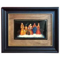 SALE Fedoskino Lacquered Miniature Painting Oil Troika Papier Mâché, 19thC