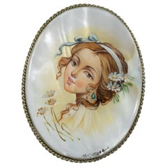 Fedoskino Russian Mother of Pearl Lacquer Painted Pin Brooch