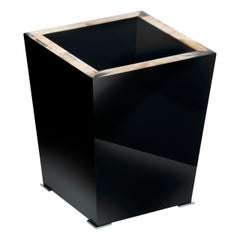 Fedro Waste Paper Basket in Corno Italiano and Black Lacquered Wood, Mod. 1956