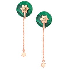 Fei Liu Malachite Diamond 14 Karat Rose Gold Stud Dangle Earrings