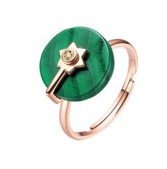 Fei Liu Malachite Champagne Diamond Rose Gold Ring