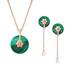 Fei Liu 14 Karat Rose Gold Malachite Stone Earrings Necklace Set