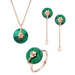 Fei Liu Malachite Diamond Rose Gold Necklace Earrings Ring