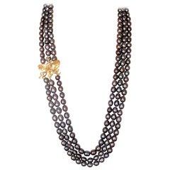 Fei Liu Citrine White Diamond Black Pearl Necklace