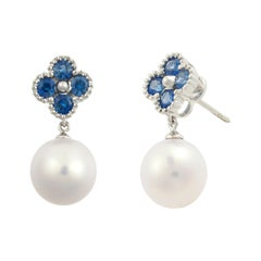 Fei Liu 18 Karat Clover White Gold Drop Earring with Blue Sapphire and Pearls