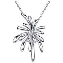 Fei Liu Diamond 9 Karat White Gold Firework Pendant Necklace