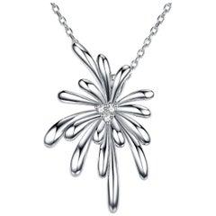 Fei Liu Diamond 9 Karat White Gold Firework Pendant Necklace