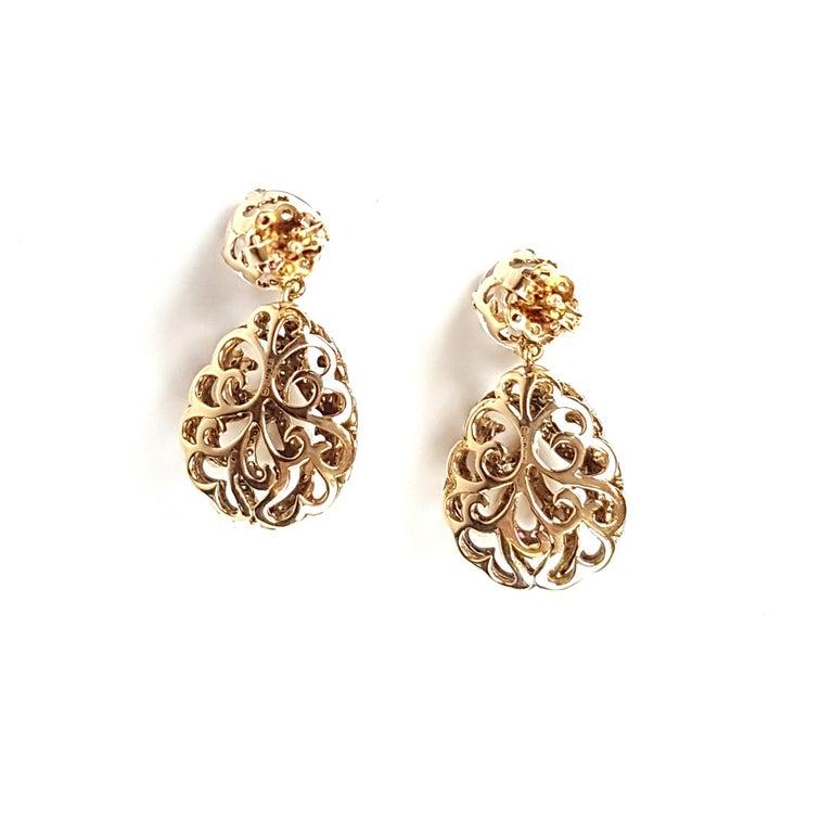 Contemporary Fei Liu 18 Karat Gold Large Hollow Tear With Rose Quartz Drop Earrings  For Sale