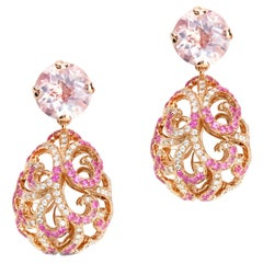 Fei Liu 18 Karat Gold Large Hollow Tear Drop Earrings with Rose Quartz